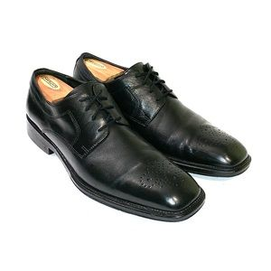 Johnston and Murphy Mens Black Leather Oxford